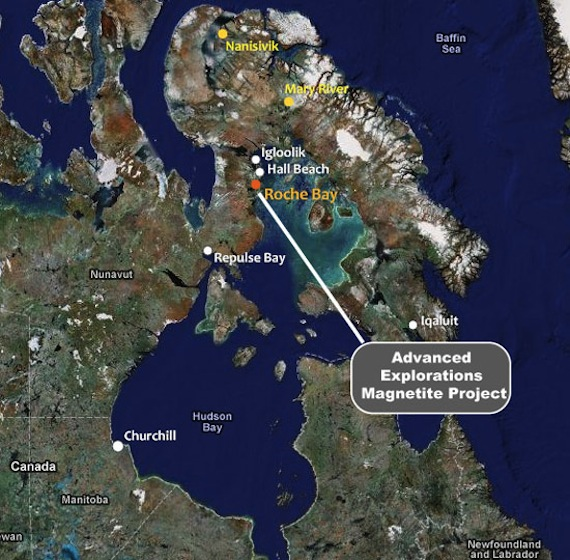 This map shows the location of the Roche Bay project on Nunavut's Melville Island. (PHOTO/ADVANCED EXPLORATIONS)