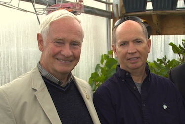 Governor General David Johnston, right, got a tour of of Iqaluit's Piruqsiavut greenhouse Aug. 15 from Iqaluit Community Greenhouse Society member Michael Chappell, right. The society made Johnston an honorary member at the end of his visit. (PHOTO COURTESY OF MICHAEL CHAPPELL)