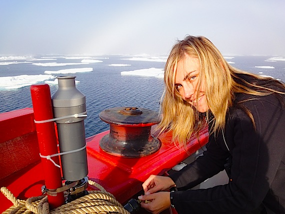 Anya Gawor, a graduate student at the University of Toronto, tests for contaminants on board the Amundsen icebreaker, work that's supported by the federal government's Northern Contaminants Program and ArcticNet, which oversees research on board the Amundsen. (FILE PHOTO)