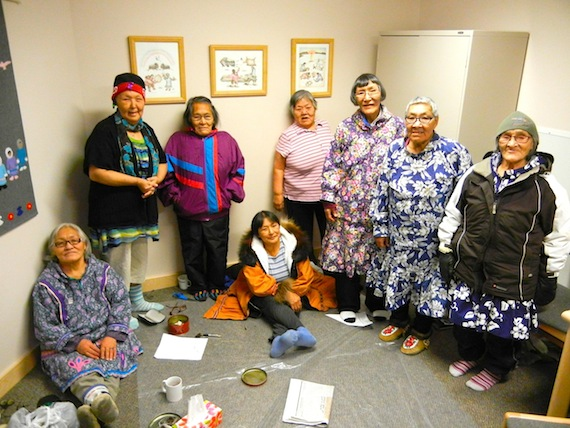 For Mary Kilaodluk, Eva Otokiak, Lena Kamoayok, Mary Avalak, Anna Nahogaloak, Mabel Etegik, Annie Atighioyak and Mary Kaniak, who now live in Cambridge Bay, the past is part of their life that they are eager to talk about in Innuinaqtun. (PHOTO BY JANE GEORGE)