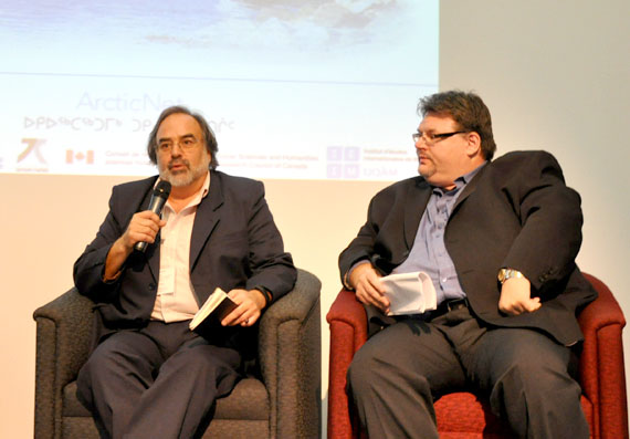 Laval University sociologist Gerard Duhaime, left and Makivik Corp. lawyer Jean-François Arteau talk about the challenges facing Nunavik's economic development at a Montreal conference called the Arctic in Transition Oct. 4. (PHOTO BY SARAH ROGERS)