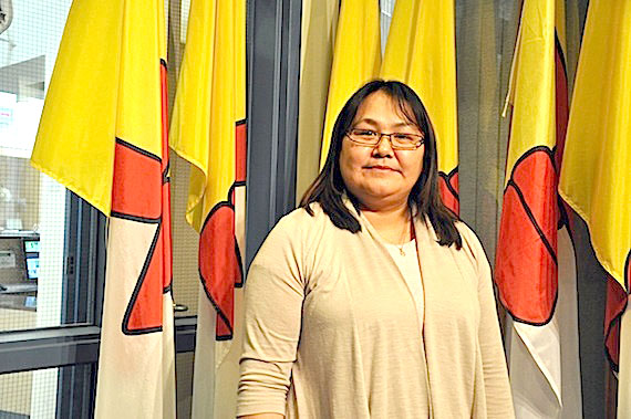 Nancy Kisa, a recent graduate of the Government of Nunavut's Sivuliqtiksat internship program, visited Iqaluit's legislative assembly Oct. 27, when she was recognized by MLAs. Kisa is the new director of health and social services in Rankin Inlet. (PHOTO BY SARAH ROGERS)