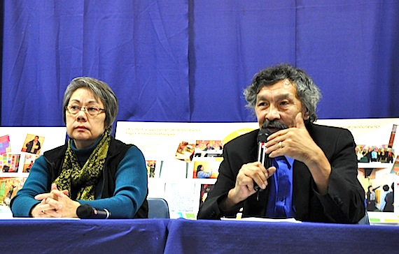 Premier Eva Aariak and Nunavut Tunngavik Inc.'s vice-president Jack Anawak talk at a press conference to close the territory's first poverty summit Nov. 30. The product of the summit, the