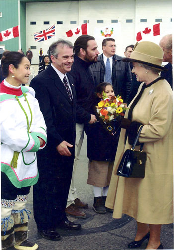 John Graham and his wife Eva Michael meet Queen Elizabeth II during her 2002 visit to Iqaluit. (PHOTO COURTESY OF JOHN GRAHAM)