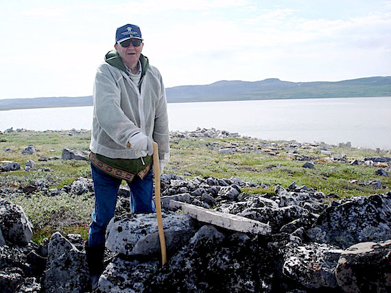Bishop Jack Sperry, seen here at an ancient dwelling site near the community of Bathurst Inlet in 2008, died Feb. 11 in Hay River, Northwest Territories. He was 87. (PHOTO BY JANE GEORGE)