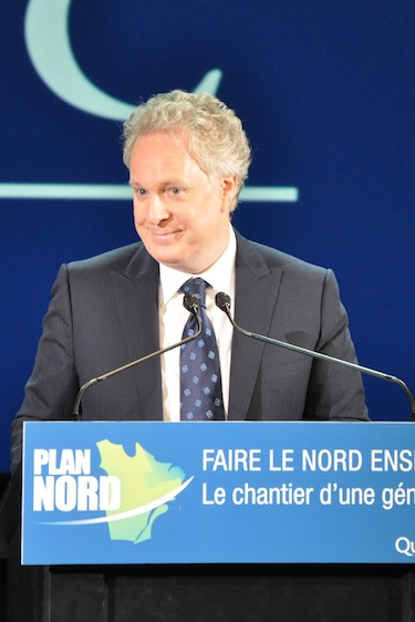 Quebec premier Jean Charest, shown here at the May 9 launch of Plan Nord. (FILE PHOTO)