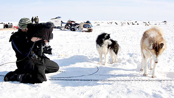 A videographer shoots footage of a dog team from the 2010 Nunavut Quest race.  Piksuk Media Inc.'s documentary Race Across Baffin premieres on APTN Feb. 29. (PHOTO COURTESY OF PIKSUK MEDIA INC)