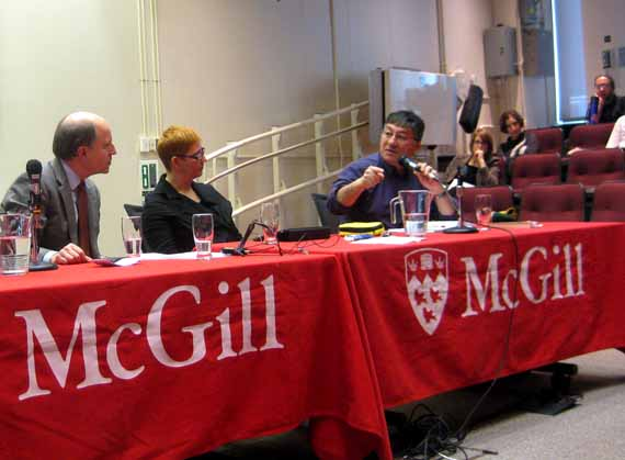 Harry Tulugak, right, speaks to a Feb. 11 conference about the role of Inuit in Quebec's Plan Nord. The conference, titled Plan Nord: Perspectives, Challenges and Promises for Northern Indigenous Communities, was hosted by McGill University's faculty of law. (PHOTO BY JOSEPH FLOWERS)