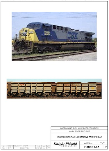 Here's an image from the draft environmental impact statement for the Mary River iron project which shows what the locomotives and ore cars planned for its 150-kilometres railway look like.