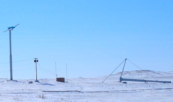 These two windmills in Kugluktuk never lived up to expectations — and over three years of operation the two windmills, which cost $650,000, only saved $43,000 in fuel. (PHOTO BY JANE GEORGE)