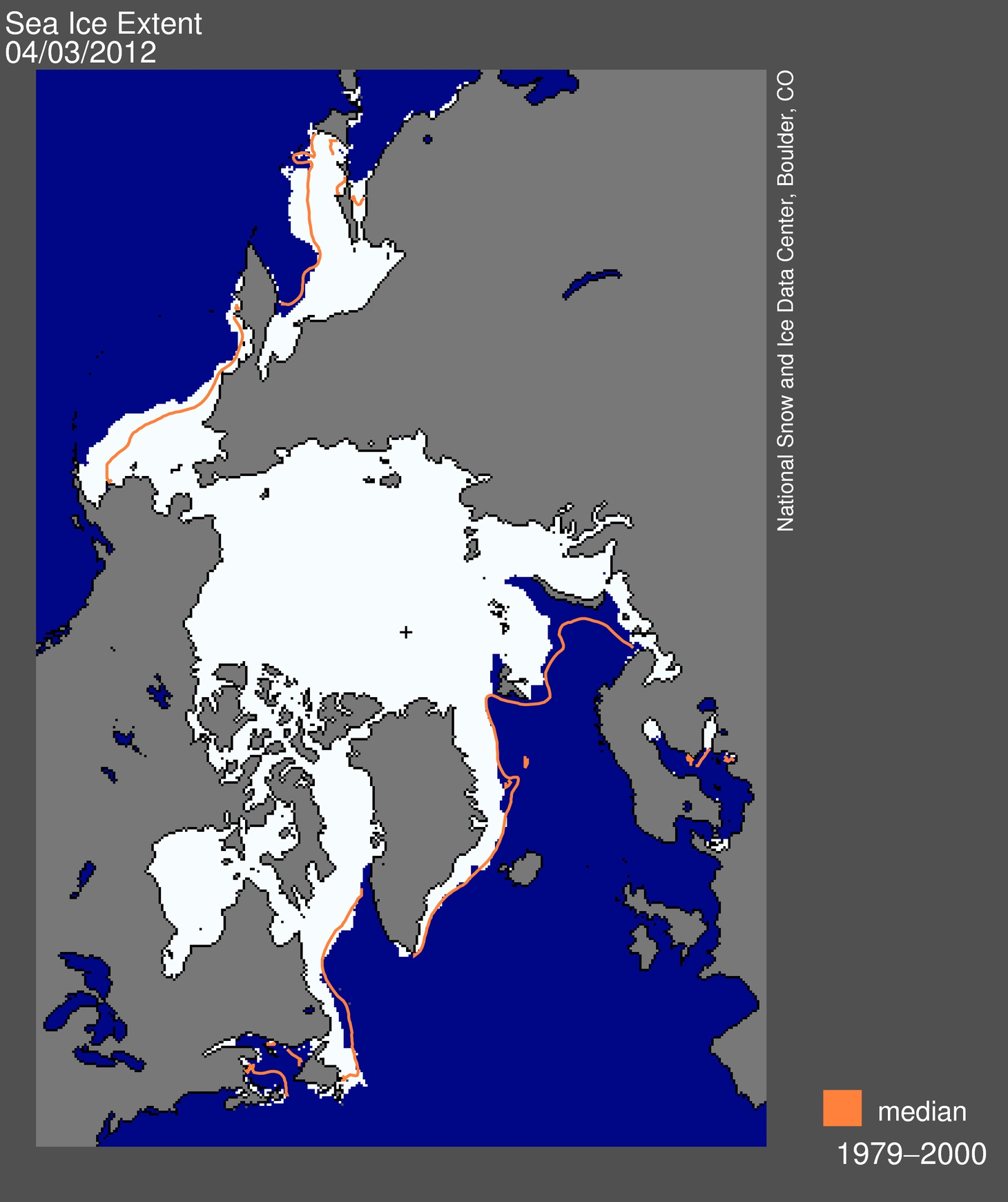 Arctic sea ice extent in March 2012 averaged 15.21 million square kilometres. The magenta line shows the 1979 to 2000 median extent for that month. The black cross indicates the geographic North Pole. (IMAGE COURTESY OF THE NSIDC)