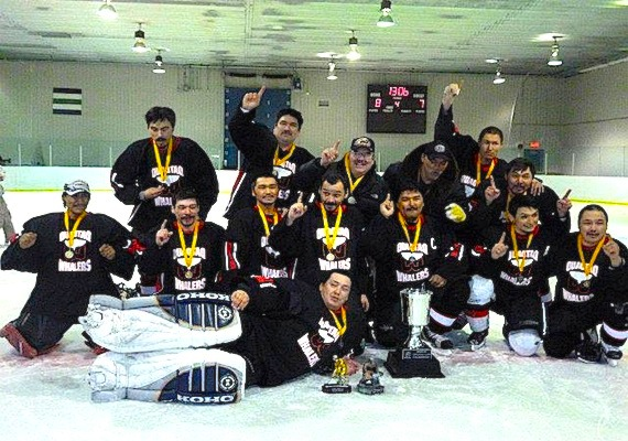 The Stanley Cup playoffs aren't the only game in town: players in the senior men's hockey team from Quaqtaq were overjoyed when they recently won their first Ungava Cup championship in Quaqtaq, beating the Kangiqsujuaq Flames in overtime by one goal, 8 to 7. The tournament also included two referees from Nunavik, Silas Saviadjuk and Kiaqsuk Kiatainaq. (PHOTO COURTESY OF ELISAPIE TUKKIAPIK)