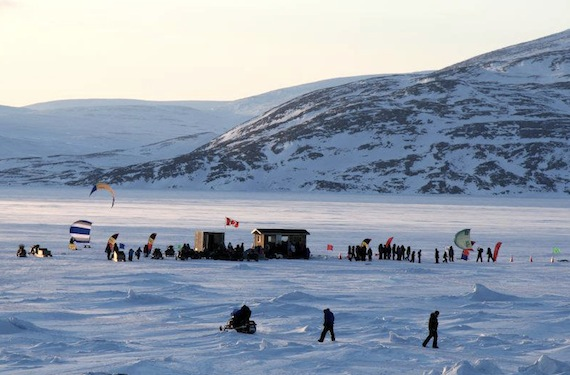 Nunavik kite-skiers take part in the Nunavik Kite-Ski Championship's opening ceremonies April 17 in Kangiqsujuaq. The event is hosting competing skiers from six communities from April 18 to 22. (PHOTO COURTESY OF KRG)
