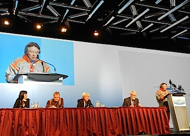 This April 26 plenary discussion on communities and health, part of the International Polar Year conference in Montreal, included speaker Lars Anders Baer, the former president of the Saami Parliament, Dr. Henning Sloth Pederson, the chief medical officer at Nuuk's Queen Ingrid hospital (second from left) and Dr. Kue Young, a researcher in aboriginal health at the University of Toronto. (PHOTO BY JANE GEORGE)