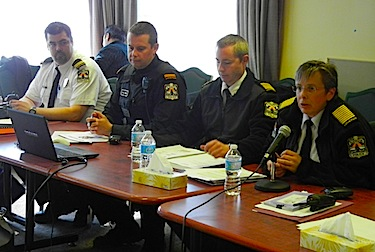 Members of the Kativik Regional Police Force, including police chief Aileen MacKinnon, talk May 30 to the Kativik Regional Government council meeting in Puvirnituq, where police urged people in Nunavik to continue to provide tips about illegal activities in the region. (PHOTO BY JANE GEORGE)