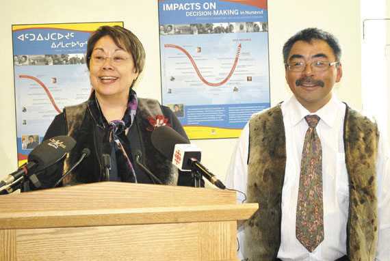 Premier Eva Aariak with David Akeeagok, the Government of Nunavut's chief negotiator for devolution, at a press conference held May 22 in Iqaluit to announce Akearok's appointment to the job. In addition to his negotiating duties, Akeeagok will continue serving as deputy minister of the GN's environment department.  (PHOTO BY JIM BELL)