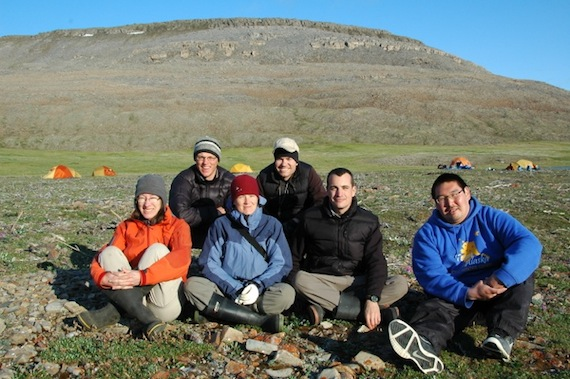 The research team on Victoria Island, Northwest Territories in July 2010. From left: Dr. Lynn Gillespie, Roger Bull, Jennifer Doubt, Dr. Jeff Saarela, Paul Sokoloff and guide Gary Okheena from Ulukhaktok. (PHOTO COURTESY OF THE CANADIAN MUSUEM OF NATURE)