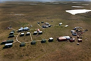 The Kiggavik uranium project, 80 kilometres west of Baker Lake, is operated by Areva Resources Canada Inc. in joint venture with JCU Exploration (Canada) Co. Ltd and Daewoo Corp. Kiggavik includes several uranium deposits that have been identified at both the Kiggavik site and the Sissons site, 20 km southwest of Kiggavik. (PHOTO COURTESY OF AREVA)
