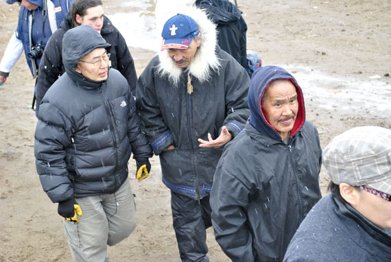 Jack Anawak, the chair of the Nunavut Social Development Council, marches with protestors at the June 9 food price demonstration in Iqaluit. (PHOTO BY JIM BELL)