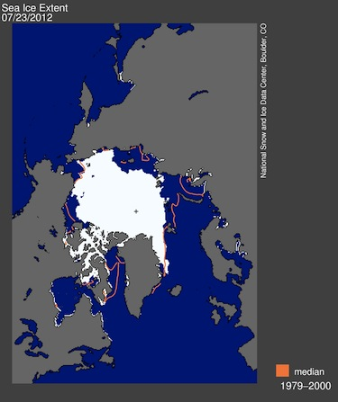 This map shows Arctic sea ice extent for July 28. The orange line shows the 1979 to 2000 median extent for that month. The black cross indicates the geographic North Pole. (IMAGE COURTESY OF THE NSIDC)