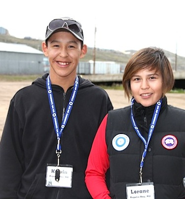 Kelvin Ivalutanar and Lorane Siusangark from Repulse Bay, shown here in Iqaluit on July 30, are among 25 youth from Canada's Inuit regions who are going on the Students on Ice a 12-day educational cruise. (PHOTO BY SAMANTHA DAWSON)