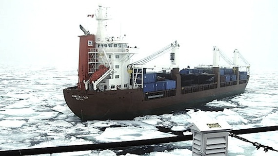 The MV Qamutik, shown here, was surrounded by the heavy ice of Frobisher Bay last week. Coast Guard icebreakers were able to carve a path through the ice to Iqaluit for the Qamutik and the MV Anna Desgangnés. (PHOTO COURTESY OF ENVIRONMENT CANADA)