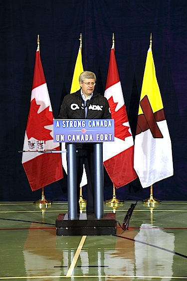 Prime Minister Stephen Harper shares the good news on Aug. 23 in Cambridge: that the community's Canadian High Arctic Research Station will move ahead. (PHOTO BY RED SUN PRODUCTIONS)