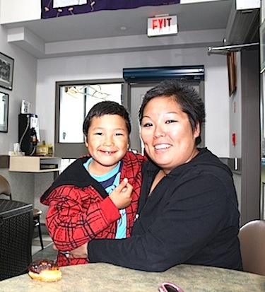 Blake Ilgok, seven, and his mother, Donna Ilgok, 31, from Kugluktuk. The two visit Larga Edmonton yearly for Blake's physiotherapy and brace fittings. (PHOTO BY ANGELA BRUNSCHOT)