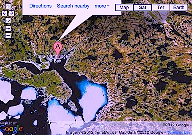 Google Maps puts Cambridge Bay on