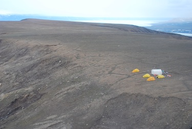 The 2009 field camp of Alexandre Guertin-Pasquier and his colleagues, high atop a windswept plateau on Bylot Island. Winds sometimes topped 80 km/h at the camp and on those days,