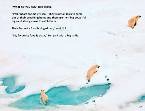 "Ben and Nuki talk about polar bears in ""Ben and Nuki Discover Polar Bears"" by Michelle Valberg."