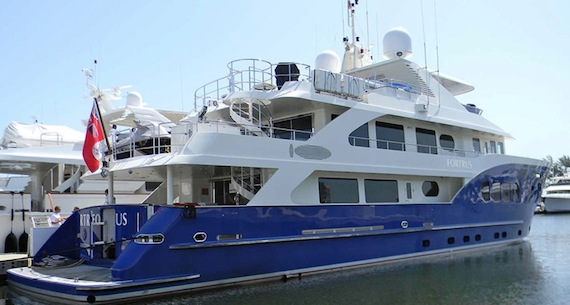 The Fortrus, a luxury yacht from Australia, docked in Cambridge Bay in early September. (PHOTO FROM FORTRUS.COM)
