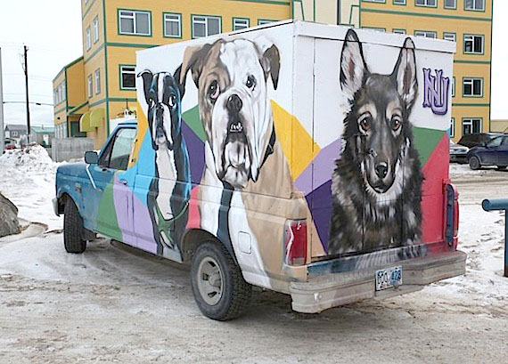 The truck belonging to Iqaluit's humane society has a new look: Iqaluit artist Jonathan Cruz decorated the van with images of dogs and cats, finishing the artwork on Oct. 28. Cruz donated his time to the project of the humane society, which is dedicated to