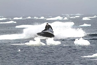 The passengers on the Fortrus played at jet-skiing in the Northwest Passage, which not that long ago was a challenge for ships and their skilled pilots to transit. (PHOTO FROM FORTRUS.COM)