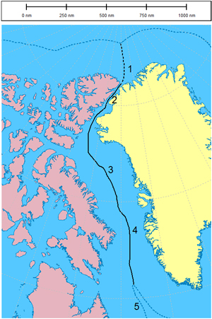 This map shows the solid black line, which is the boundary agreed between Canada and Denmark in the 1973 treaty. The broken black line is the new boundary agreed on. The broken blue lines indicate 200-nautical-mile zones in the Arctic Ocean. (HANDOUT IMAGE)