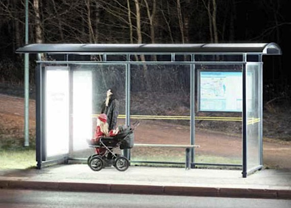 Here's an idea that could help make Canada's Arctic communities brighter: the power corporation in Luleå, Sweden, which lies at about the same northern latitude as the Baffin Island community of Qikiqtarjuaq, has found a novel way to keep people more peppy during the dark season. In 26 bus shelters, Umea Energy has installed light boards with special lamps used in photo-therapy. In five bus shelters, the company also added extra lights. The light at the bus stops now simulates daylight artificially, it's completely harmless and does not generate any harmful ultra-violet radiation. Light therapy, used to treat seasonal depression and improve skin conditions such as eczema, is widely used in northern Europe. (PHOTO COURTESY OF UMEA ENERGY)