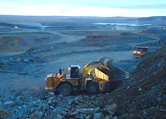 Ore from the Expo open pit mine is already being stockpiled at the site of Canadian Royalties' Nunavik Nickel mine in Nunavik. (PHOTO COURTESY OF CANADIAN ROYALTIES)