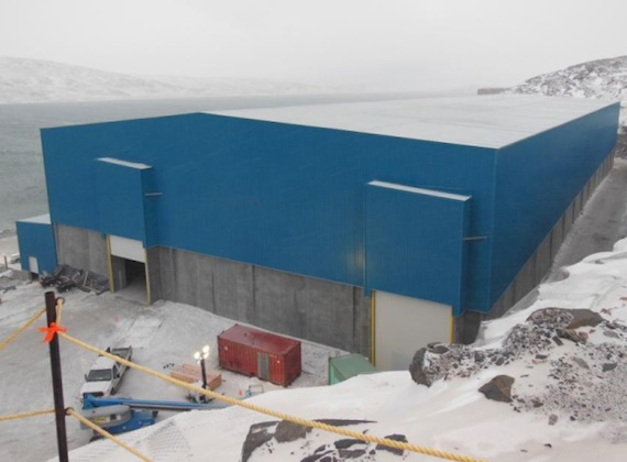 This warehouse at Deception Bay on Hudson Strait will store concentrate milled at the Nunavik Nickel Mine for shipping to markets in Europe. (PHOTO COURTESY OF CANADIAN ROYALTIES)