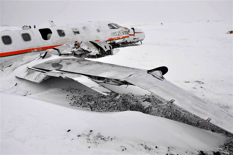 The Perimeter Aviation Metro 3 aircraft that crashed Dec. 22 near the end of the Sanikiluaq runway. Isaac Appaqaq, the six-month-old baby who died in the accident, was not strapped in with a seat belt, Nunavut's chief coroner said Dec. 27. (PHOTO COURTESY OF THE RCMP)