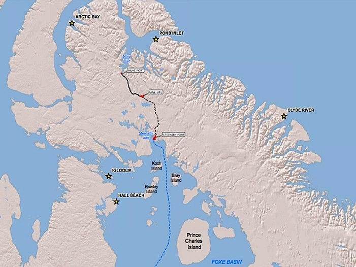 This map shows the path of location of Baffinland Iron Mines Corp.'s Mary River iron mine project, along with the planned roads, railways and shipping routes. (FILE IMAGE)