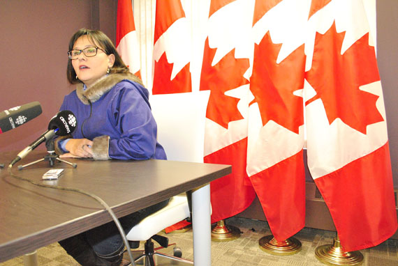 Nunavut MP Leona Aglukkaq speaks to reporters Oct. 27 in Iqaluit. Earlier in the year, Prime Minister Stephen Harper appointed her to chair the Arctic Council when Canada assumes the chairmanship of the eight-nation body in May 2013. He also named her as minister responsible for the Arctic Council. (FILE PHOTO)