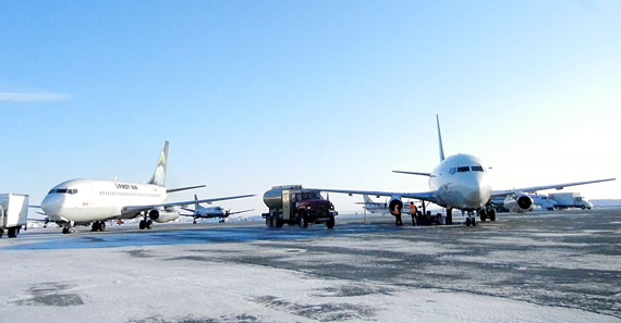 Rankin Inlet airport, shown here on a typically busy afternoon last February, saw up to 10 take-offs and landings during one hour last November, according to StatsCan statistics on flight take-offs and landings at Nav Canada flight service stations. (FILE PHOTO)