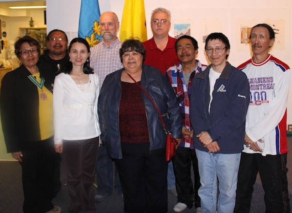 The Commissioner of Nunavut, Edna Elias, stands with Iqaluit residents who received awards for volunteer work and for bravery at a ceremony in Iqaluit on April 23 at the Nunatta Sunakkutaangit Museum. First row, from left to right: Commissioner Elias, Xing Xiu Huang for volunteer work, Nunavut minister Monica Ell, Pauloosie Attagootak for bravery, Pudloo Lucassie and Joanasie Michael, who both received awards for volunteer work. Second row: Mathew Nuqingaq (who received the award on behalf of his wife, Darlene, for her volunteer work with the Iqaluit Music and fiddle), Russ Blanchett and Doug Cox received awards for volunteer work. (PHOTO COURTESY OF THE GOVERNMENT OF NUNAVUT)