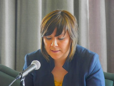 Elizabeth Annahatak, president of Saputiit, Nunavik's youth association, seen here at a Kativik Regional Government Council meeting, hasn't had much good news to deliver since her election in 2011. (FILE PHOTO)