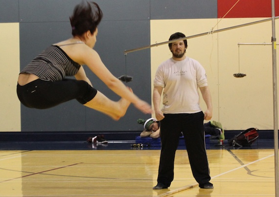 Penina Chamberland tests her expertise in the two-foot high-kick during this past weekend's Arctic Winter Games trials in Kangiqsualujjuaq. More than 100 athletes from Nunavik's Ungava Bay communities attended the trials April 26 to April 29 in the hopes of gaining a spot on Team Nunavik-Québec at the 2014 AWG in Fairbanks, Alaska. Read more about the trials later on Nunatsiaqonline.ca. (PHOTO COURTESY OF THE KATIVIK REGIONAL GOVERNMENT)