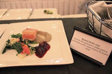 Seared Arctic char was one of many delicious dishes served up at ITK's A Taste of the Arctic celebration April 29. (PHOTO BY LISA GREGOIRE)