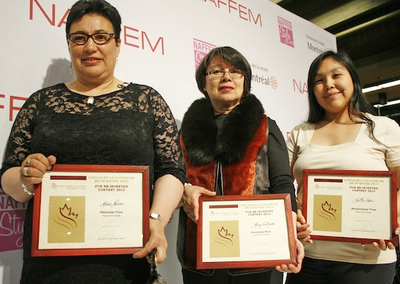Nunavut Arctic College's Mona Netser, Mary Wilman and Stella Attagutaluk Awa hold up awards they received April 29 for best menswear, accessory and women's wear in the North American Fur and Fashion Exposition's Fur Re-Invented contest. Eight of NAC's Fur and Design students travelled to Montreal to be a part of the fur trade show, which featured fur fashion companies from across the world. Find out more about the show and how the seal skin industry is coping with the European Union's seal skin ban on Nunatsiaqonline.ca. (PHOTO BY DAVID MURPHY)