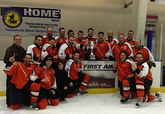 Here's the Yellowknife Flyers with the Northern Hockey Challenge Cup they won this past weekend in Yellowknife. Yellowknife took the cup home by winning three straight games in a best-of-five competition against the Iqaluit Icemen. (PHOTO COURTESY OF FIRST AIR)