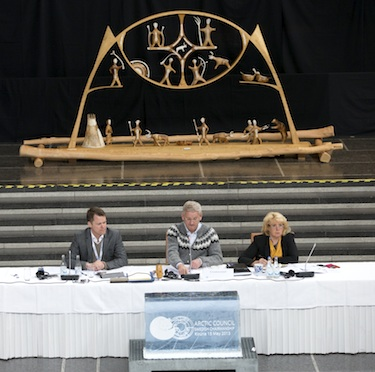 At the May 15 Arctic Council ministerial in Kiruna, Sweden, presided over by Sweden's foreign minister, Carl Bildt, centre, at the Kiruna town hall, signed an agreement on Cooperation on Marine Oil Pollution Preparedness and Response in the Arctic. BY MARTINA HUBER/ REGERINGSKANSLIET)