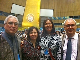 Aqqaluk Lynge, Leanna Ellsworth, Rena Skifte and Hjalmar Dahl from the Inuit Circumpolar Council at the 12th session of the Permanent Forum on Indigenous Issues at the UN headquarters in New York City. (PHOTO COURTESY OF ICC)